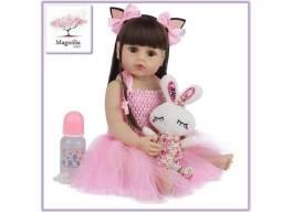 Título do anúncio: Boneca Bebê Reborn Silicone com Acessórios