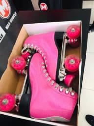 Patins rosa com glitter n37