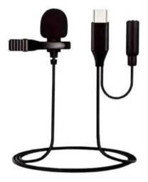 Microfone Lapela Usb C Tipo C Type C Com Saída De Áudio P2
