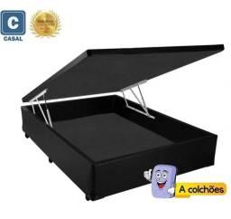 Título do anúncio: Base Box Baú Casal com Pistão a Gás - 1,38 x 1,88 x 35 cm - (Somos Fabricantes)