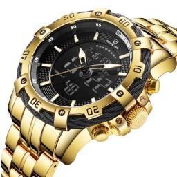 Relógio Dourado GoldenHour Dual Time Pesado/Original Est. Invicta à Prova D'água 100% Novo