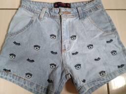 Shorts jeans bordado