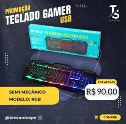 Teclado Gamer Semi-Mecânico RGB USB WEIBO