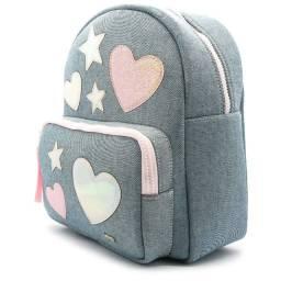 Bolsa Mochila Jeans Coração Estrela Azad