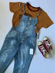Macacão Jeans Canelado