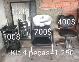 Kit cadeira hidráulica +lavatório+espelho+carrinho vegas