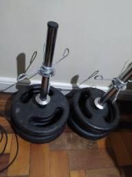 Kit Anilhas E Barras Musculação 40kg