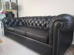Sofa chesterfield 3 lugares 100% couro natural