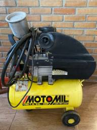 Compressor Motomil com pistola de pintura