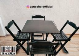 Conjunto Mesa Dobrável em Madeira Maciça 70x70 Bar e Restaurante - Certificada Inmetronb