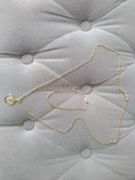 Cordão, pulseira e pingente banhado a ouro