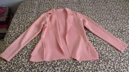 Blazer/Casaco em malha rosa - Tamanho único