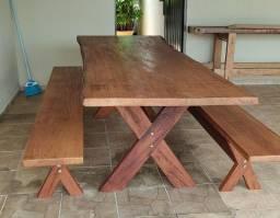 Mesa madeira rústica 2.50