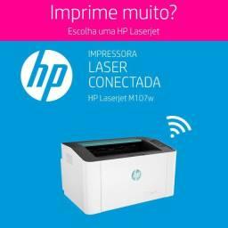 Impressora HP Laserjet 107W - com conexão usb e wirelles-Nova