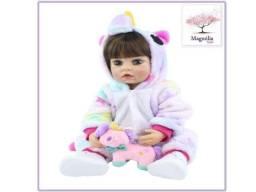 Título do anúncio: Boneca Bebê Reborn com Pijama de Unicórnio