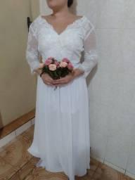 Título do anúncio: Vestido de noiva novo 400 reais . Veste 42/44.