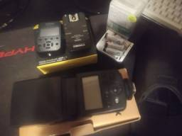 Flash + kit rádio Nikon + kit pilhas sony