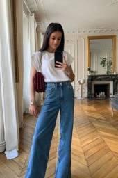 Calça jeans wide led