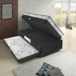 Título do anúncio: Base Box Baú Solteiro com cama Auxiliar Espuma - 88x188x35 - Somos Fabricantes