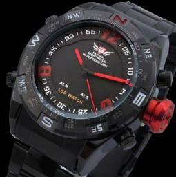 Relógio Masculino Epozz Preto Vermelho Todo Funcional à Prova D'água 100% Novo/Original
