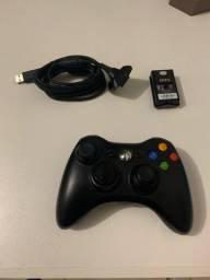Controle Xbox 360 original zerado + kit bateria original + adaptador PC