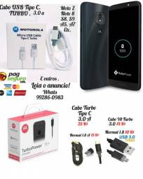 Cabo USB Turbo Motorola e Sansung 3.0 Amperes Leia
