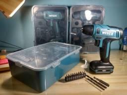 Parafusadeira/Furadeira 12V Bateria Lítio + Maleta + Kit de Brocas e Bits - Wesco