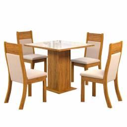 Mesa de Jantar 4 cadeiras Lari Imbuia Ameixa Off White Viero Móveis
