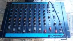 Mesa de som da Oneal 8 canais divido no cartão
