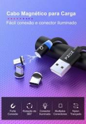 *Cabo Carregador Magnético 3 Em 1 (Micro Usb, USB Tipo C e Lightning)*