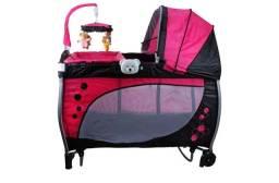 Berço Portátil Balanço com trocador e móbile Rosa- Baby Style