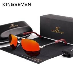 Óculos de Sol laranja vermelho Kingseven Vintage Alumínio Polarizado