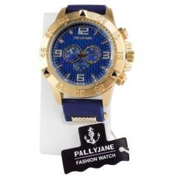 Relógio Analógico Masculino PallyJane em Silicone a Prova D'água Rmp4 Dourado / Azul