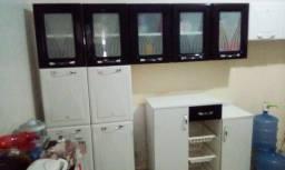 Cozinha Modulada 3 Peças Portas em Vidro Tarsila Itatiaia - Preto E Branco