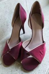 Sandália salto City Shoes vermelha