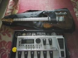Pedaleira boss gt10 e guitarra telecaster