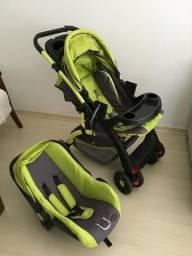 Carrinho Chelino com bebê conforto, usado