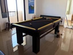 Mesa Madeira | Mesa Preta | Tecido Preto | Borda Amarela | Modelo: NYRR2138