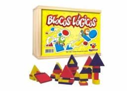 Jogo Blocos Lógicos Infantil Madeira 48 Peças
