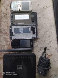 Lote de celulares e um roteador