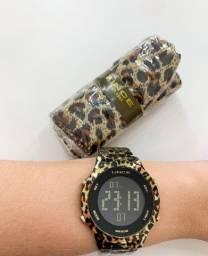 Relógio Lince Feminino Oncinha Digital + Lenço Sdph103l