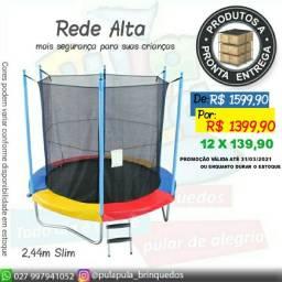 Promoção Relampago Pula pula 2,44m Slim (rede alta mais segura) A pronta entrega!!
