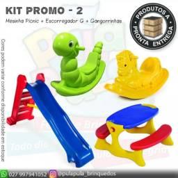 Promoção Mesinha recreio + Escorregador + Gangorrinhas coloridas - A pronta entrega