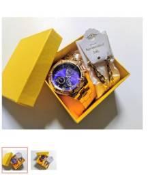 Relógios Masculino Luxo + Cordão folheado + Caixa