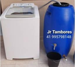 Tambor 250 litros com torneira em metal e registro