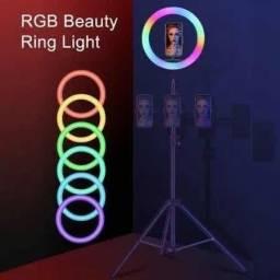 RING LIGHT 26 CM COM TRIPÉ DE 2,10mts RGB