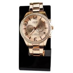 Relógio Analógico Dhp Feminino em Aço com Strass a Prova D'água Rdh5 Rose