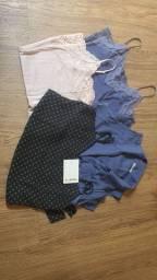 4 blusas tamanho p feminina