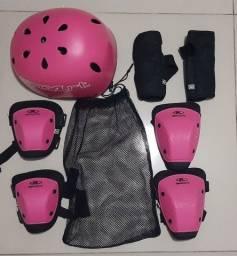 Kit Capacete Joelheira Cotoveleira Bike Skate Patins Rosa