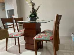 Mesa Jantar + 4 cadeiras estampadas